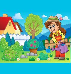 Image with gardener theme 2 vector