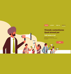 Indian business people holding megaphone public vector