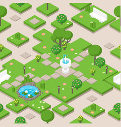 Isometric park composition with trees fountain vector