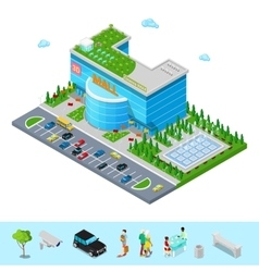 isometric shopping mall building with cinema vector image