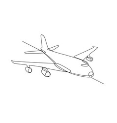 jumbo jet plane airliner continuous line vector image