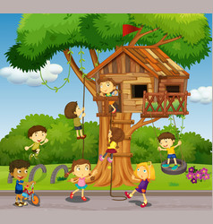 Kids playing at treehouse in park vector