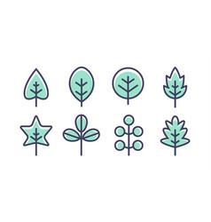 leaf design line icon green line vector image
