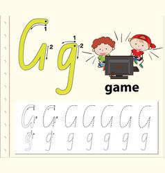 letter g tracing alphabet worksheets vector image