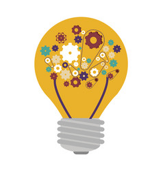 Light bulb with filaments and gear wheel vector