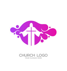 Logo in the form of bubbles silhouette of jesus vector