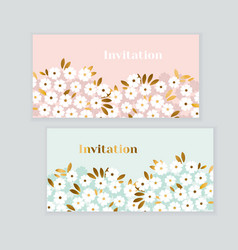 luxury gold and pastel green spring flowers vector image