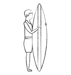man with surfboard avatar character vector image