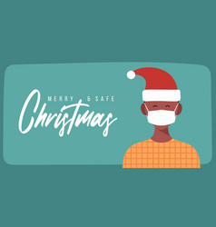 merry and safe christmas african man in santa vector image