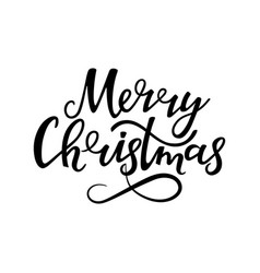 merry christmas hand lettering greeting card for vector image