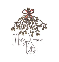 Merry christmas linear logo tag emblem or label vector