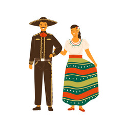 Mexican woman and man wearing traditional costumes vector