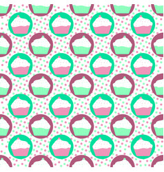 Mint and violet cakes pattern vector