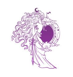 mistyc elf princess queen night vector image