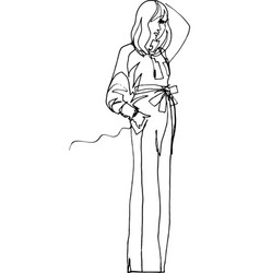 Model shows clothes 1970 style vector