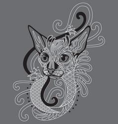 Monochrome ornamental cat 9 vector