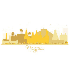 Nagpur india city skyline golden silhouette vector