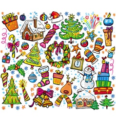New year and christmas set vector