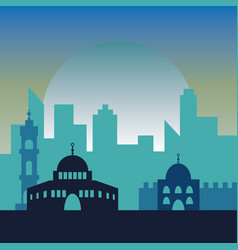 night in jerusalem jewish symbol city buildings vector image