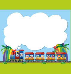 Paper template with children on train vector