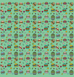 pattern burger blue-background color lineart vector image