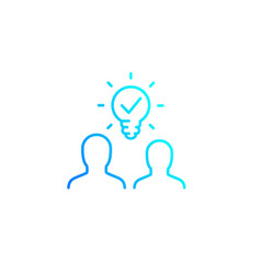 people with idea line icon vector image