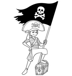 pirate boy line art vector image