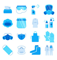 ppe icons medical mask sanitizer spray vector image