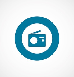 Radio bold blue border circle icon vector