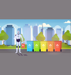 Robotic character holding plastic rubbish vector