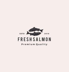 Salmon fish logo seafood retro hipster vintage vector
