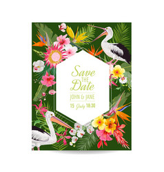 save date card with exotic flowers and birds vector image