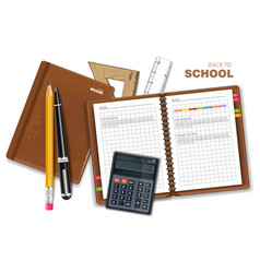 school supplies realistic calculator note vector image