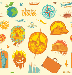 seamless pattern with travel stickers or icons vector image