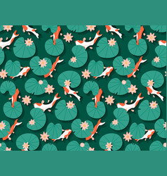 seamless traditional with pattern koi carp fishes vector image