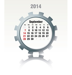 September 2014 - calendar vector image