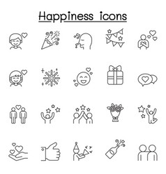 Set happy related line icons contains vector