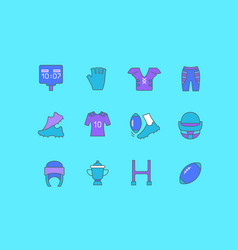 set simple line icons rugby vector image