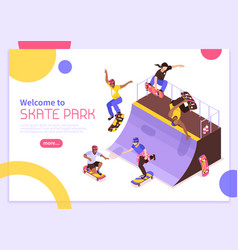 skate park banner concept vector image
