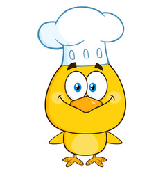 Smiling chef yellow chick cartoon character vector