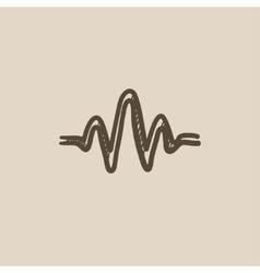 Sound wave sketch icon vector