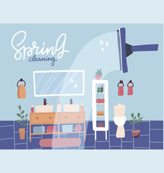 spring cleaning banner bathroom cleaning service vector image