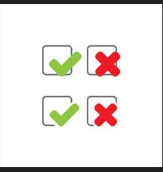 stylish check mark v x icon yes no true false vector image