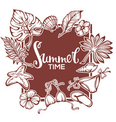 Summer time tropical background with palm leaves vector