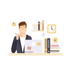 Thinking Man Office Worker In Office Cubicle vector