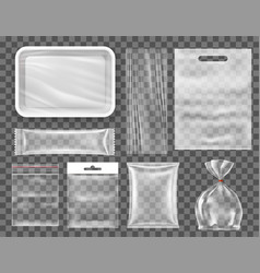 transparent empty plastic food packaging set vector image