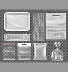 transparent empty plastic food packaging set vector image