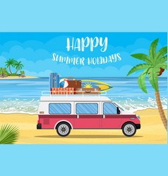 Travel van with surfboard and suitcases vector