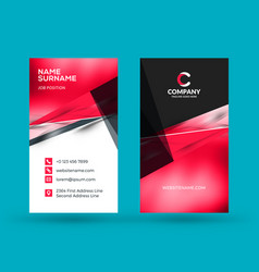 Vertical double-sided business card template vector