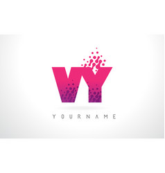 vy v y letter logo with pink purple color and vector image